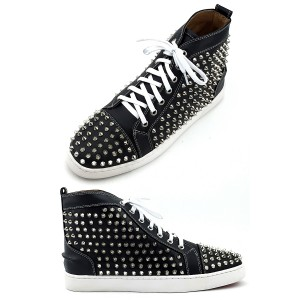 Christian Louboutin, Women's High Top Sneaker, Silver Spikes Black